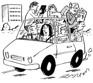 Personas compartiendo coche - carsharing